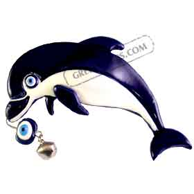 Evil Eye Minoan Dolphin Magnet (4in)