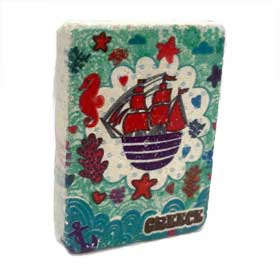 Decorative Greek Magnet feat.Sailboat