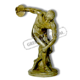 "Discus Thrower Statue 9"" (23 cm.) Bronze-colored"