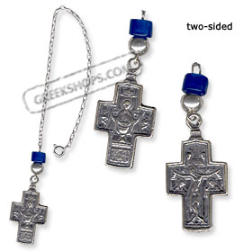 Sterling Silver Rear-View Mirror Charm - Virgin Mary and Crucifix