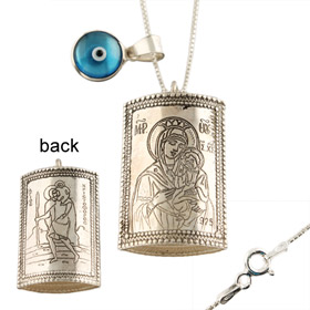 Sterling Silver Car Rear-View Mirror Charm - Virgin Mary & St. Christopher