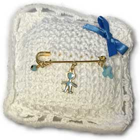 14k Gold Plated Newborn Baby Boy Safety Pin w/ charms