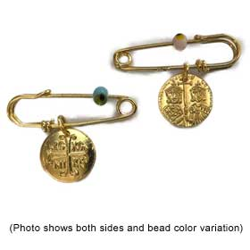 Gold Plated Safety Pin w/ Byzantine Cross Newborn Charm