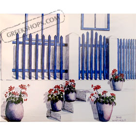 Fence with Flowers by Bill Williams 11 x 13.5 in