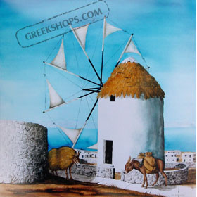 Mykonos Windmill by Bill Williams 16 x 16 in.
