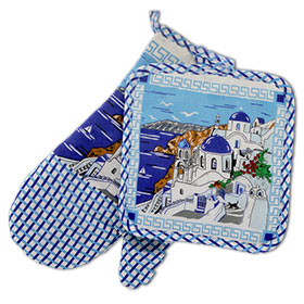 Decorative Oven Santorini Landscape Mitt and Potholder 2 pc. Set