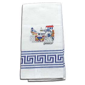 Decorative Embroidered Kitchen Towel feat. Santorini 50x60cm