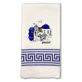 Decorative Embroidered Kitchen Towel feat. Santorini Church 50x60cm