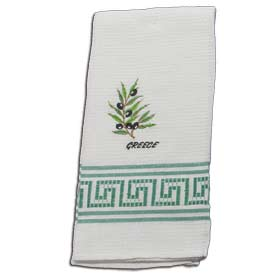 Decorative Embroidered Kitchen Towel Greek Olive Branch  50x60cm