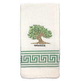 Decorative Embroidered Kitchen Towel Greek Olive Tree 50x60cm