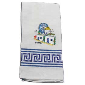 Decorative Embroidered Kitchen Towel feat. Mykonos 50x60cm