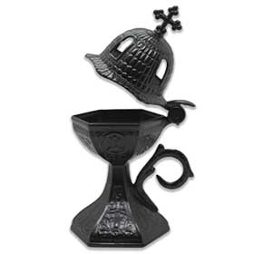 "Traditional Greek Incense Burner ""Church Dome"", Charcoal Color"