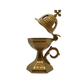 "Traditional Greek Incense Burner ""Church Dome"", Gold Color"