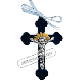 Metal Crucifix with Blue Velvet Cross - Small