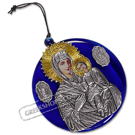 Virgin Mary / Panayia Metal Icon on Blue Glass - Size XL