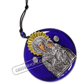 Virgin Mary / Panayia Metal Icon on Blue Glass - Size L