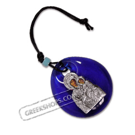 Virgin Mary / Panayia Metal Icon on Blue Glass - Size XS