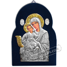 Silver Icon on Blue Velvet Frame - Panayia ( Virgin Mary ) 17x24cm