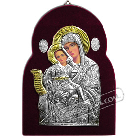 Silver Icon on Red Velvet Frame - Panayia ( Virgin Mary ) 17x24cm