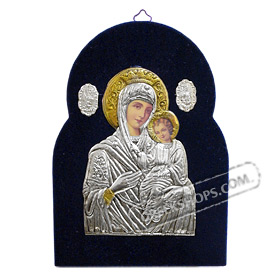 Silver Icon on Blue Velvet Frame - Panayia ( Virgin Mary ) 19x14cm