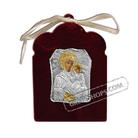 Silver Icon on Red Velvet Frame - Panayia ( Virgin Mary ) 7.5x5.5cm