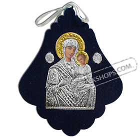 Silver Icon on Blue Velvet Frame - Panayia ( Virgin Mary ) 15x12cm