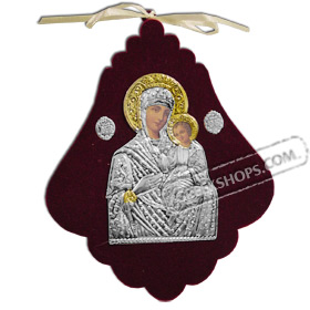 Silver Icon on Red Velvet Frame - Panayia ( Virgin Mary ) 15x12cm