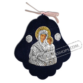 Silver Icon on Blue Velvet Frame - Panayia ( Virgin Mary ) 10.5x9cm