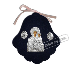 Silver Icon on Blue Velvet Frame - Panayia ( Virgin Mary ) 8x7.5cm