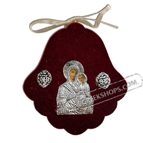 Silver Icon on Red Velvet Frame - Panayia ( Virgin Mary ) 8x7.5cm
