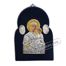 Silver Icon on Blue Velvet Frame - Panayia ( Virgin Mary ) 14x10cm