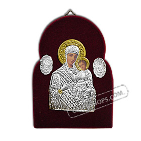 Silver Icon on Red Velvet Frame - Panayia ( Virgin Mary ) 14x10cm
