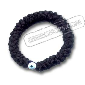 Komboskini Religious Bracelet with Evil Eye Bead in Black