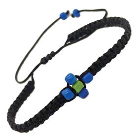 Black Komboskini Macrame Adjustable Bracelet with Beaded Cross (4mm)