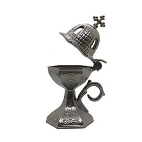 "Traditional Greek Incense Burner ""Church Dome"", Silver Color"