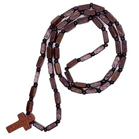 Greek Orthodox Wooden Bead Prayer Rope w/ cross, Greek Rosary style 102