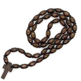 Greek Orthodox Wooden Bead Prayer Rope w/ cross, Greek Rosary style 105