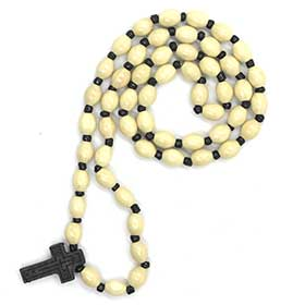 Greek Orthodox Wooden Bead Prayer Rope w/ cross, Greek Rosary style 106