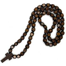 Greek Orthodox Wooden Bead Prayer Rope w/ cross, Greek Rosary style 110
