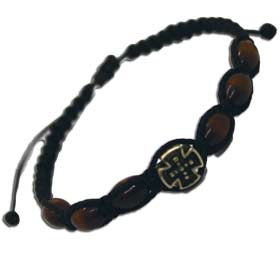 Adjustable Wooden Bead Komboskini style Bracelet w. Rounded Cross