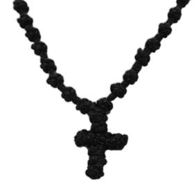 Komboskini Knotted Greek Cross Necklace 30mm by 36 mm