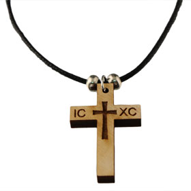 Wooden ICXC Cross Necklace (34mm)