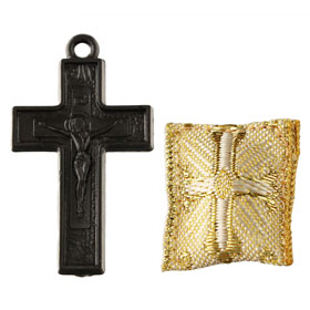Plastic Cross Pendant w/ Fabric Amulet (29mm)