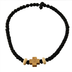 Black Komboskini Bracelet, Wooden Greek Cross (9mm)