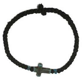 Thin Komboskini Bracelet with teal vintage cross
