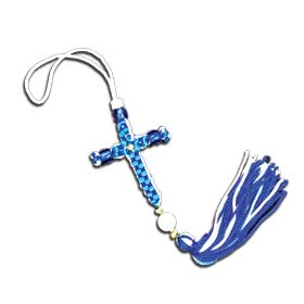 Greek Flag Colors Knotted Cross w/ Tassel 16cm