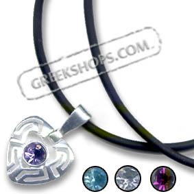 Sterling Silver Greek Key Heart Pendant Necklace with Gemstone