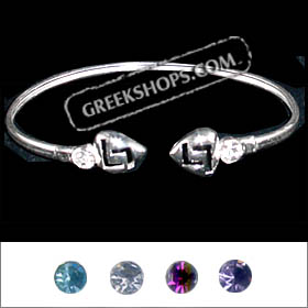 Sterling Silver Greek Key Heart Gemstone Bracelet