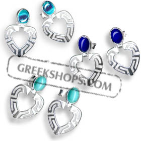 Sterling Silver Earrings - Heart with Greek Key Motif and Stone (23mm)