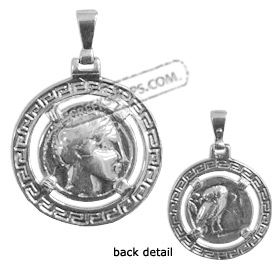 Sterling Silver Pendant - Ancient Tetradrachm Silver Coin Replica (27mm)